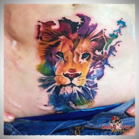 Tatuaje Acuarela León