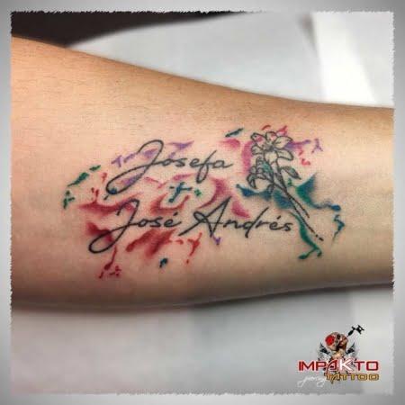 Tatuaje Acuarela Nombres