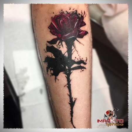 Tatuaje Acuarela Rosa Negra