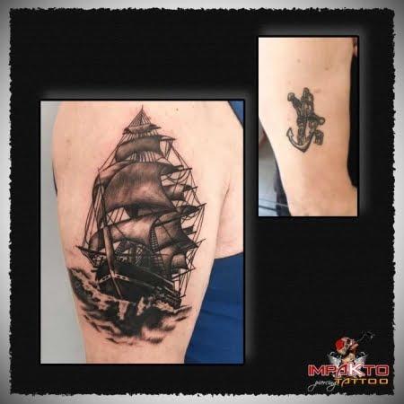 Tatuaje Coverup Galeón