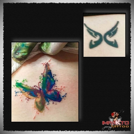 Tatuaje Coverup Mariposa