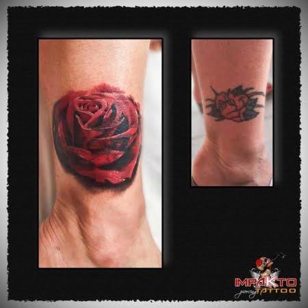 Tatuaje Coverup Rosa
