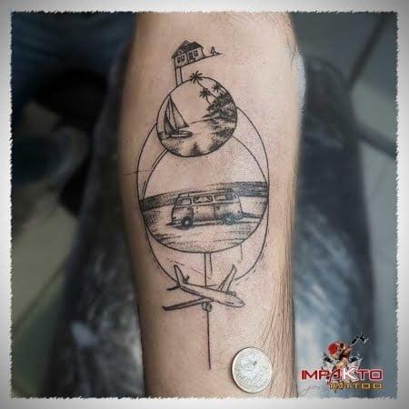 Tatuaje Ilustrativo Viajes